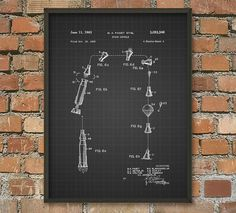 Space Capsule Patent Wall Art Poster 2 by QuantumPrints on Etsy