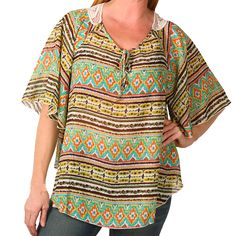 Aztec Print Top $34  #alight #alightcom #plussize #plussizefashion #plussizeclothing #trend #trendy #cute #fall #fall2016 #fallfashion #fallstyle #print #top #plussizetop #green #yellow #orange # aztec   This is a scoop neck georgette top with an open flowing bottom. Butterfly sleeves. Butterfly lace insert back.