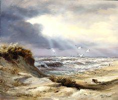 Skyfall Canvas Art - Reint Withaar x Large Wall Paintings, Landscape Paintings, Nature Art, Painting, Seascape Art, Art, Seascape, Landscape Art, Abstract Art Landscape