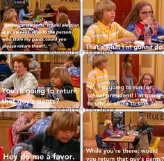 LOL The Suite Life of Zack and Cody. Used to love this show but it doesn't come in anymore :(