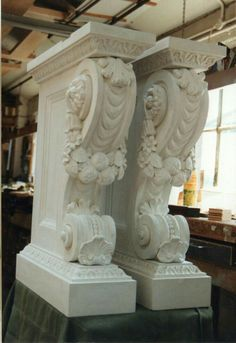 Legs fully assembled and painted. Architectural Salvage, Architectural Elements, Stone Carving, Wood Carving, Stone Molds, Facade House, Consoles, Wall Sculptures, Architecture Details