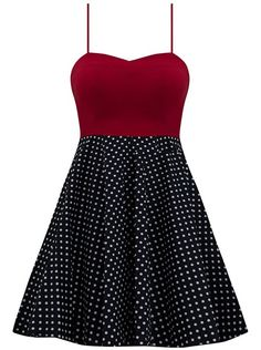 Featuring adjustable spaghetti straps, lined skirted petticoat with tooling and stretch bow tie in back, this polka dot dress is the perfect pin up style swing dress. Made in the USA Pin Up Dresses, Cute Dresses, Beautiful Dresses, Fashion Dresses, Retro Outfits, Cute Outfits, Rockabilly Fashion, Rockabilly Dresses, Rockabilly Baby