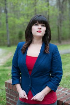 Must have office-wear for Spring! Plain black blazers are so drab in the beautiful weather of Spring, so I love this navy blazer to add some color, yet stay professional. #catofashions