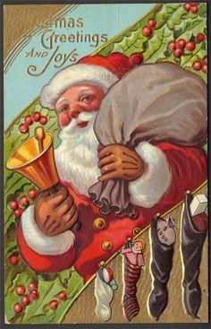 Chirstmas Greetings Santa Ringing Bell $1000 in Stocking Embossed Postcard 1910