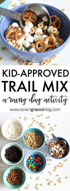 A kid-approved trail mix! This is a the best trail mix recipe for kids. Make this as a rainy day activity or anytime. This trail mix is definitely a favorite and so easy your kiddo can make it on his hor her own
