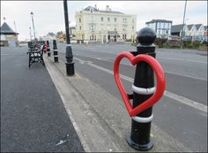 New heart-shaped cycle hoops unveiled on Burnham-On-Sea seafront