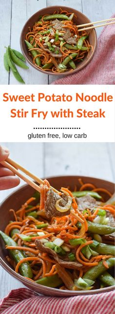 Sweet Potato Noodle Stir Fry with Steak is a hearty, flavorful dinner full of vegetables including spiralized sweet potato noodles. You can feel good about eating this low carb, healthy stir fry and you will love the flavorful stir fry sauce. {gluten free} via @lkkelly98
