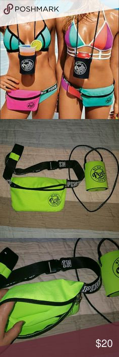 NWOT PINK victoria secret fanny pack and coozie! Super cute with lanyard. Lime green Victoria's Secret Bags