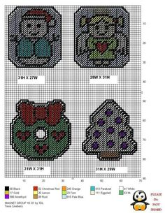 Christmas Magnets Plastic Canvas Coasters, Plastic Canvas Ornaments, Plastic Canvas Tissue Boxes, Plastic Canvas Crafts, Plastic Canvas Patterns, Paper Bag Crafts, Yarn Crafts, Halloween Canvas, Plastic Canvas Christmas