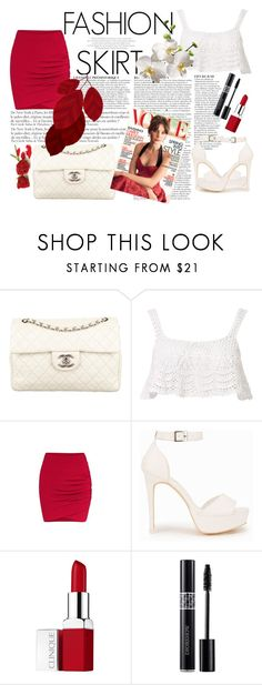 """Red Αnd White"" by miss-sandy on Polyvore featuring Chanel, Anja, Beauty & The Beach, Nly Shoes, Clinique and Christian Dior"