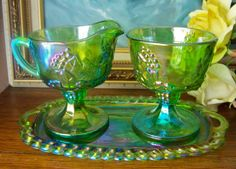 Lime Green Carnival Glass Cream and Sugar Set by cynthiasattic, $39.00