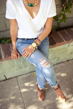 trendy outfit fashion jewelry white heels denim fashion photography