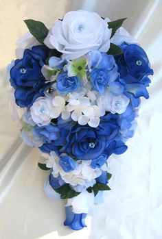 Wedding bouquet Bridal Silk flowers Cascade ROYAL BLUE WHITE Periwinkle Decorations Bridesmaids boutonnieres Corsages 17 pc package