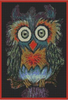 Crazy As An Owl   PEYOTE CHART PATTERN by PaulaHowardPatterns, $9.00