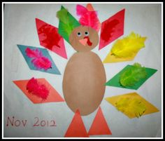 Geometric Turkey :easy learning activity for a toddler.