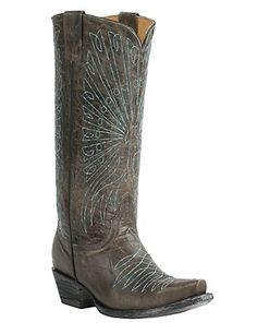 10.  Cavender's by Old Gringo Women's Tarnished Grey Goat with Peacock Embroidery Snip Toe Western Boots