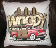 Hawaiian Surfing Vintage Car Pillow by AnastasiaBArts on Etsy, $12.00 Vintage Cars, Hawaiian, Repurposed, Diaper Bag, Surfing, Throw Pillows, Unique Jewelry, Handmade Gifts, Bags
