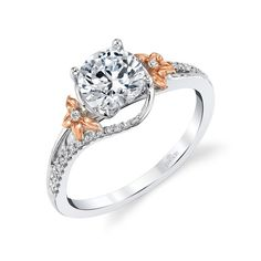 18k White And Rose Gold Floral Accents Expressive Prong Set Engagement Ring Setting | Washington Diamond | Falls Church, VA