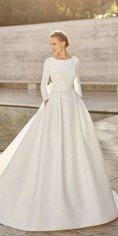 30 Ball Gown Wedding Dresses Fit For A Queen ❤ ball gown wedding dresses modest simple with long sleeves train rosa_clara #weddingforward #wedding #bride