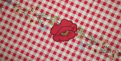 Vintage Tablecloth Red Checked Appliqué by MereZeDotesVintage, $18.00