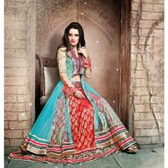 Anarkali style Semi-Stitched Salwar suit of kurta Aqua color and salwar of Red color