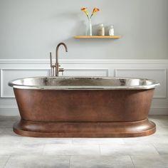 "77"" Kelsey Copper Pedestal Tub - Nickel Interior"