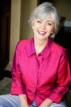 Love the Fushcia silk blouse against the sterling silver hair- so pretty