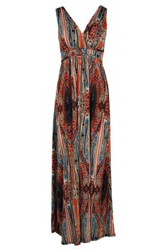 Callie Paisley Print V Neck Slinky Maxi Dress alternative image