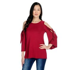 6209281c26d 734-959 - Kate   Mallory® Stretch Knit 3 4 Sleeve Cold Shoulder Tie  Detailed Top