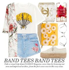 """I'M WITH THE BAND: BAND T-SHIRTS"" by noraaaaaaaaa ❤ liked on Polyvore featuring Charlotte Olympia, Chanel, GRLFRND, River Island, Superga and bandtees"