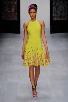divine colour and intricate 3D flower, crystal & beading details at the bottom Issa at London Fashion Week Spring 2013 -model Cris Urena