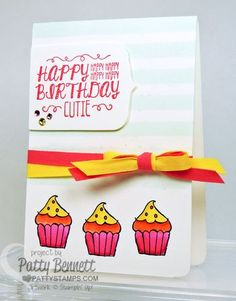 Sweet Stuff stamp set:  cupcake  birthday card with Stampin' Up! ribbon and striped mask background. by Patty Bennett #stampinup #blendabilties #sweetstuff