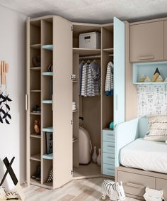 Organizing can also be fun! Circu furniture offers the most amazing inspiring designs for kids bedroom! Bedroom Closet Design, Closet Designs, Bedroom Storage, Home Decor Bedroom, Interior Design Living Room, Kids Bedroom, Corner Wardrobe Closet, Wardrobe Room, Girls Room Design