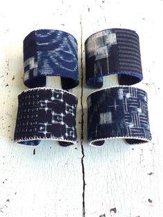 Indigo Kasuri Print Cuff Bracelets