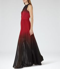 Hawk Red/garnet Ombre Pleated Maxi Dress - REISS