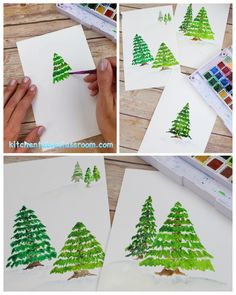Learn to paint a pine tree with this step by step watercolor tutorial for kids! step by step Pine Tree Painting Tutorial for Kids Watercolor Christmas Cards, Christmas Drawing, Diy Christmas Cards, Christmas Paintings, Christmas Crafts For Kids, Xmas Crafts, Cute Crafts, Christmas Decorations, Christmas Tree Art