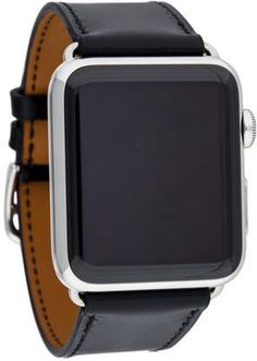 Apple x Hermès Single Tour Watch Men's stainless steel 42mm Hermès x Apple Single Tour Watch with customizable dial, ceramic case back, black leather strap and signed stainless steel tang buckle closure. This has to be the most stylish apple watch strap there is, it makes you apple watch not even look like an apple watch, unique and quality.