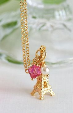 Necklace Charm Necklace Gold Plated Pink