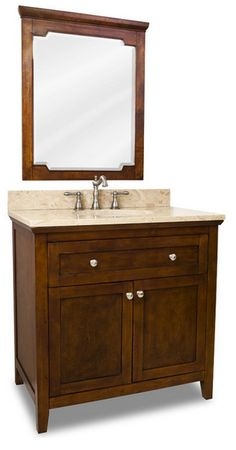 Distressed Shaker Vanity Set, Brown, Three Door Extended  Click here to purchase: http://www.houzz.com/photos/13174171/lid=4599773/Distressed-Shaker-Vanity-Set-Brown-Three-Door-Extended-traditional-bathroom-vanities-and-sink-consoles