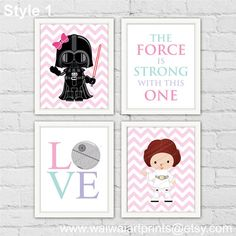 Star Wars Girl Nursery Decor. Princess Leia Darth Vader LOVE Decor. The Force Is Strong With This One. Pink Girl Room Decor. Item No.: 235