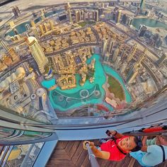 At the top of the Burj Khalifa in Dubai. The world's tallest building. Loving the view you have from it. It such a weird thought that 20 years ago Dubai was just desert. Nowadays it's one of the biggest and busiest places on earth. #GoPro #city #dubai #burjkhalifa #travel #wanderlust