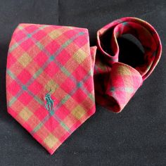 POLO Ralph Lauren 100% Cotton Madras Plaid Tie Classic Multi Red Green #PoloRalphLauren #Tie