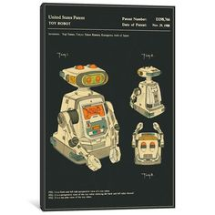 "East Urban Home 'Yuji Tanno and Takeo Kimura (Playtime Products, Inc.) Toy Robot (""Gemini"") Patent' Graphic Art Print on Canvas Size: 60"" H x 40"" W..."