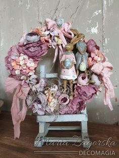Online tutorial by Maja Zagorska (Decomagia) - Art & Physical easter wreath with bunnies - Πασχαλινό στεφάνι Art & Physical με λαγουδάκια! Floral Wreath, Wreaths, Natural, Home Decor, Art, Style, Art Background, Swag, Floral Crown