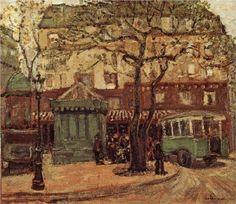 Greenish Bus in Street of Paris  - Grant Wood