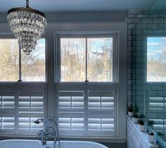 Blinds.com Simplicity Wood Shutters in Bright White preserve the view and let light in while also giving you privacy in this gorgeous bathroom from @c.1900_victorian. Bathroom Window Treatments, Bathroom Windows, Bamboo Shades, Wood Shutters, Large Windows, Window Sill, Innovation Design, Home Values, Preserve