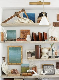 """""""Steve's office is steeped in his own history,"""" says Brooke. """"Vintage tools and molds, his paintings, and family photos. They are all reminders of our ability to create beautiful objects."""""""
