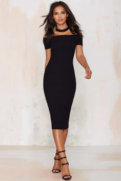 Tori Ribbed Off-the-Shoulder Dress - Going Out   Body-Con   LBD