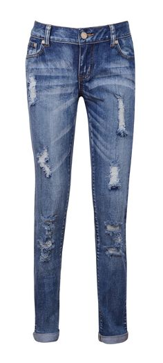 Leggings and Trousers : 'Tease' Destroyed Denim Boyfriend Fit Jeans