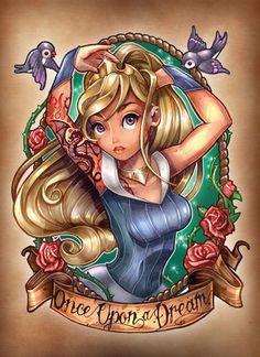 Princesas Disney em estilo tatuagem